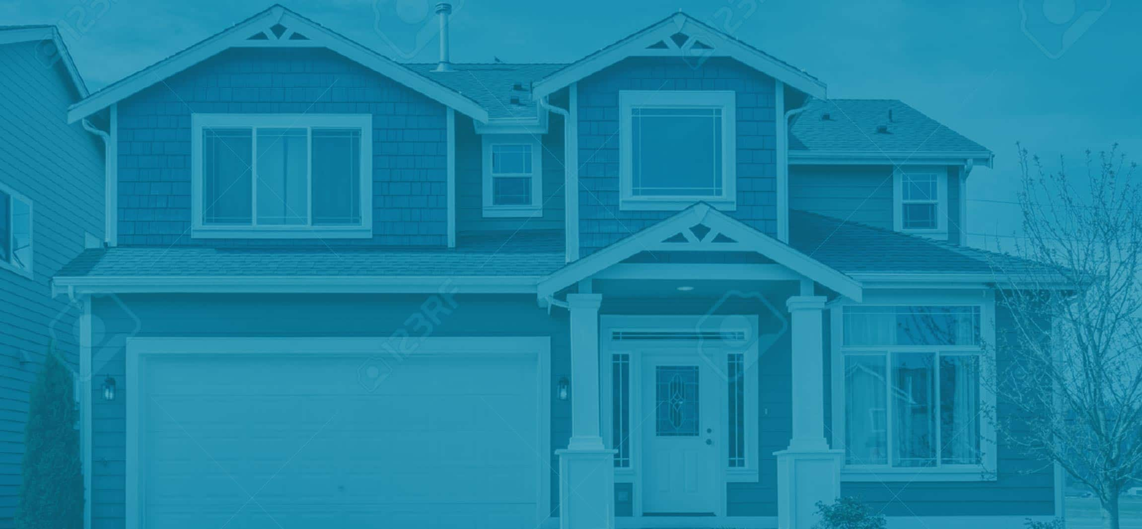 Blue House Background Call Michaels Roofing Siding And
